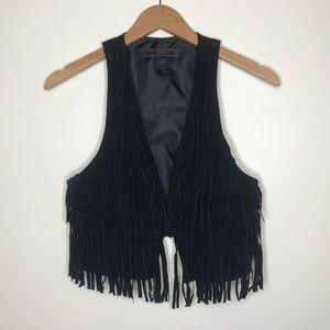 XXI Black Leather Fringe Vest
